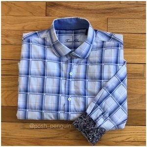 ⬇️45 Tasso Elba Blue Plaid Button Down Shirt XL